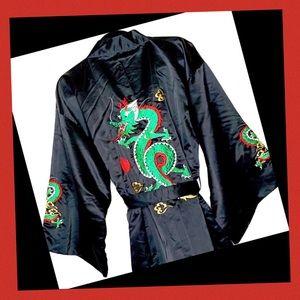 Black Satin Japanese Kimono w/ Dragon